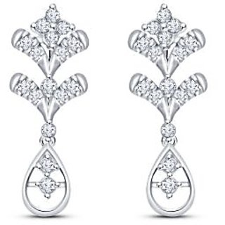Siover Sterling Silver Cubic Zirconia Floral Drop Earrings NE-01232-W