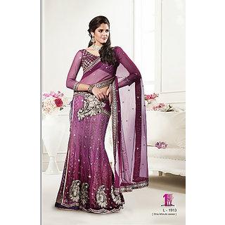 Beautiful Georgette Party Wear Langha Purple