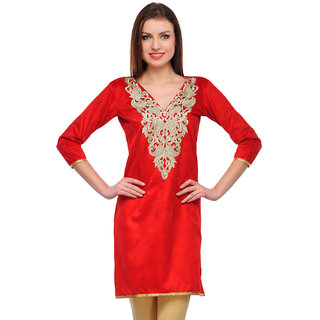 Sukuma Red Embroidered Velvet Stitched Kurti