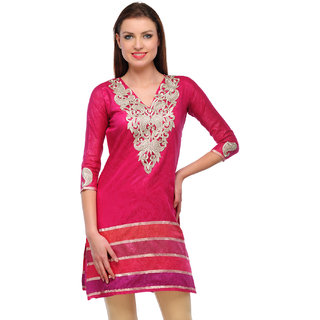 Sukuma Pink Embroidered Chanderi Stitched Kurti
