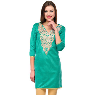 Sukuma Green Embroidered Velvet Stitched Kurti