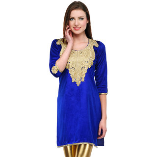 Sukuma Blue Embroidered Velvet Stitched Kurti