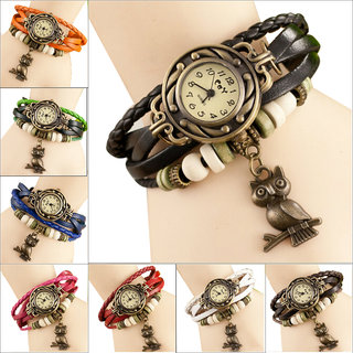 Vintage's Weave Wrap Leather Women Bracelet Quartz Watches gift