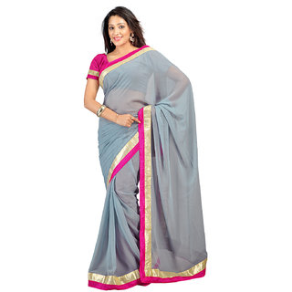 Rangoli Nice Georgette Gray Embroidered Saree FL-1017