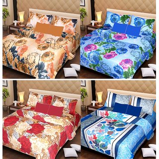 Akash Ganga Beautiful Combo of 4 Double Bedsheets with 8 Pillow Covers (AG1238)