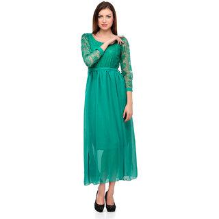 Klick2Style Green Plain Maxi Dress For Women