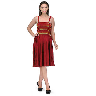 Klick2Style Maroon Embroidered Fit & Flare Dress For Women