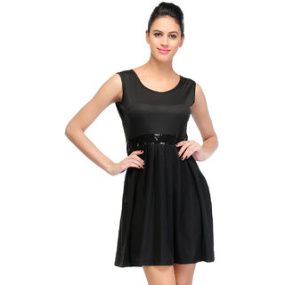 Klick2Style Black Plain Fit & Flare Dress For Women