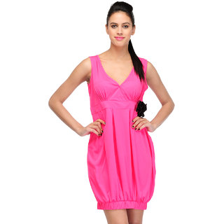 Klick2Style Pink Plain Bodycon Dresses For Women