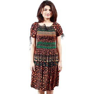 Klick2Style Multicolor Graphic Print Fit & Flare Dress For Women