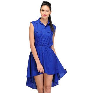 Klick2Style Blue Plain High low Dress For Women