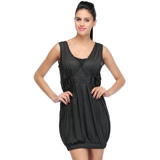 Klick2Style Black Plain Bodycon Dresses For Women
