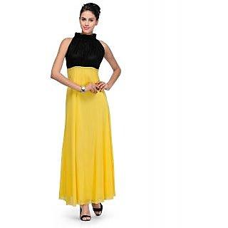 Klick2Style Yellow Plain Maxi Dress For Women