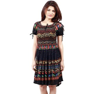 Klick2Style Black Graphic Print Fit  Flare Dress For Women