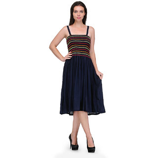 Klick2Style Blue Embroidered Fit & Flare Dress For Women