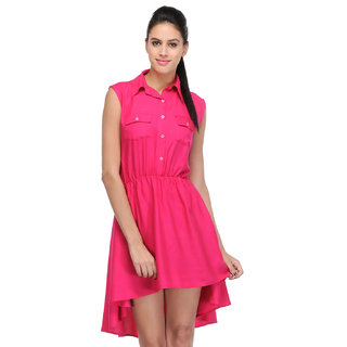 Klick2Style Pink Plain High low Dress For Women