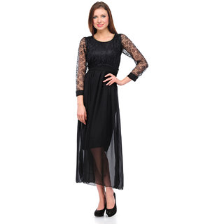 Klick2Style Black Plain Gown Dress For Women