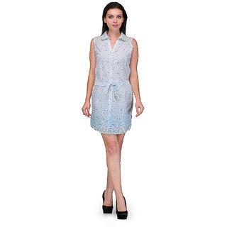 Klick2Style White Graphic Print Skater Dress For Women