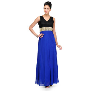 Klick2Style Blue Plain Maxi Dress For Women