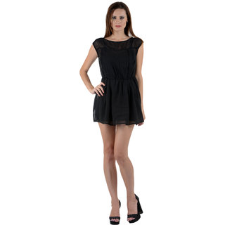 Klick2Style Black Plain Skater Dress For Women