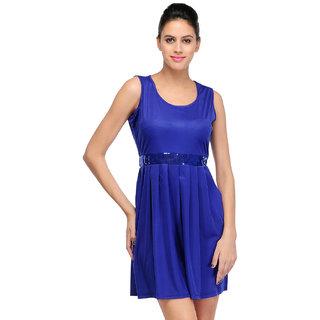 Klick2Style Blue Plain Fit & Flare Dress For Women
