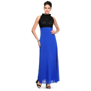Klick2Style Blue Plain Gown Dress For Women