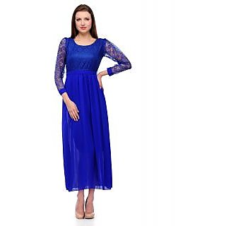 Klick2Style Blue Plain Maxi Dress For Women