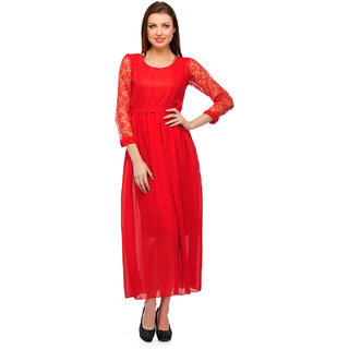 Klick2Style Red Embroidered Maxi Dress For Women