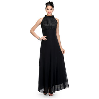 Klick2Style Black Plain Maxi Dress For Women