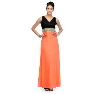 Klick2Style Peach Plain Gown Dress For Women