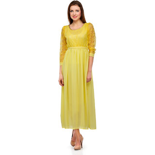 Klick2Style Yellow Embroidered Gown Dress For Women