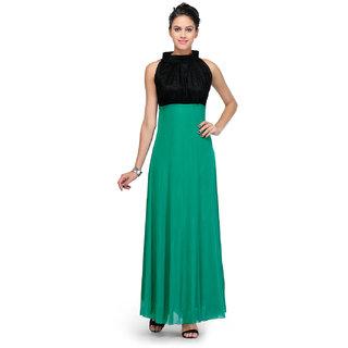 Klick2Style Green Plain Gown Dress For Women
