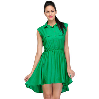 Klick2Style Green Plain Fit & Flare Dress For Women