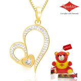 Sparkles Gold And Diamond Heart Shaped Pendant With Gold Plated Silver Chain P10049