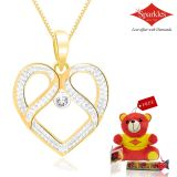 Sparkles Gold And Diamond Heart Shaped Pendant With Gold Plated Silver Chain P10051