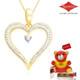 Sparkles Gold And Diamond Heart Shaped Pendant With Gold Plated Silver Chain P10053