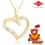 Sparkles Gold And Diamond Heart Shaped Pendant With Gold Plated Silver Chain P10055