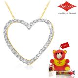 Sparkles Gold And Diamond Heart Shaped Pendant With Gold Plated Silver Chain P10110