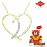 Sparkles Gold And Diamond Heart Shaped Pendant With Gold Plated Silver Chain P10111