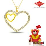 Sparkles Gold And Diamond Heart Shaped Pendant With Gold Plated Silver Chain P5551