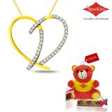 Sparkles Gold And Diamond Heart Shaped Pendant With Gold Plated Silver Chain P5574