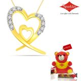 Sparkles Gold And Diamond Heart Shaped Pendant With Gold Plated Silver Chain P7748
