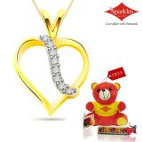 Sparkles Gold And Diamond Heart Shaped Pendant With Gold Plated Silver Chain P7770