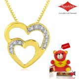 Sparkles Gold And Diamond Heart Shaped Pendant With Gold Plated Silver Chain P8261