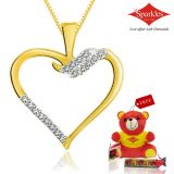Sparkles Gold And Diamond Heart Shaped Pendant With Gold Plated Silver Chain Pxp8351