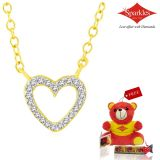 Sparkles Gold And Diamond Heart Shaped Pendant With Gold Plated Silver Chain Swn7731