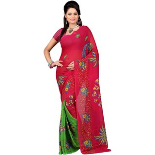 Casa Joya Red Brocade Printed Saree With Blouse