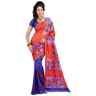 Blue Brocade Printed Saree With Blouse