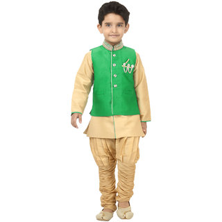 Pagli boys green waistcoat with dupion kurta breeches for 13 to 14 years
