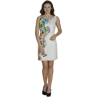 SVT ADA COLLECTIONS COTTON WHITE-TURQUOISE ELEGANT ONE PIECE DRESS